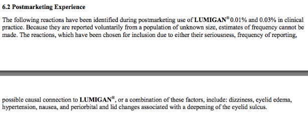 Fig 3: Official Lumigan Product information, now updated to mention PAP related changes, courtesy of http://www.lumigan.com